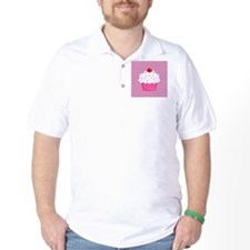 Cupcake on Pink and Black Polka Dots T-Shirt