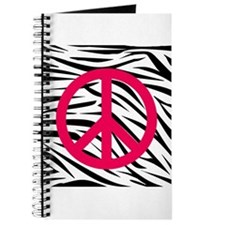 Hot Pink Peace Sign on Zebra Stripes Journal