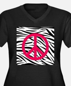 Hot Pink Peace Sign on Zebra Stripes Plus Size T-S