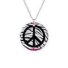 Peace Sign on Pink Zebra Stripes Necklace