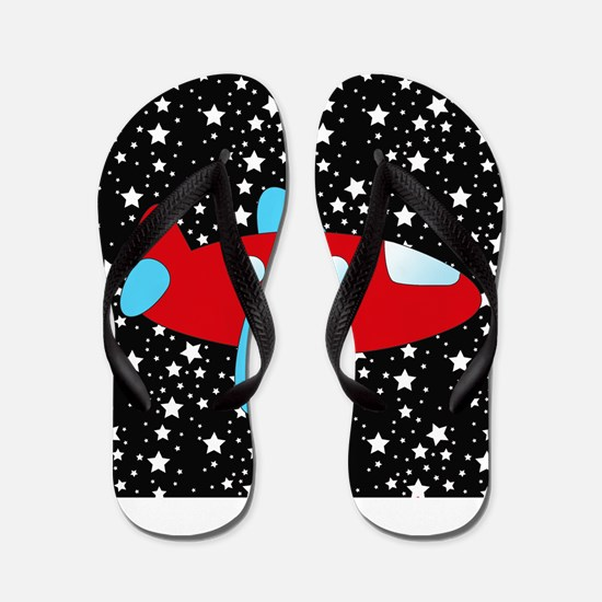 Red and Blue Plane on Stars Flip Flops