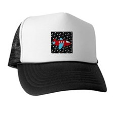 Red and Blue Plane on Stars Trucker Hat