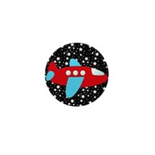Red and Blue Plane on Stars Mini Button