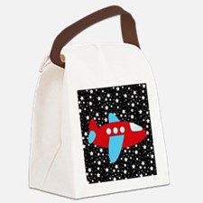 Red and Blue Plane on Stars Canvas Lunch Bag