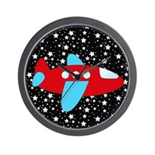 Red and Blue Plane on Stars Wall Clock