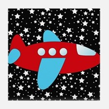 Red and Blue Plane on Stars Tile Coaster