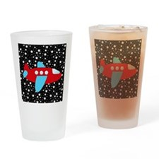 Red and Blue Plane on Stars Drinking Glass