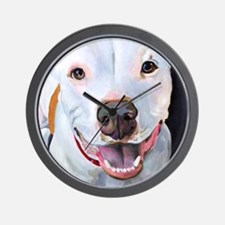 Charlie The Pitbull Dog Portrait Wall Clock