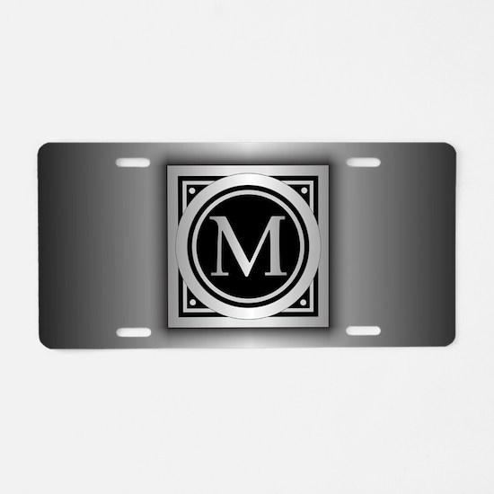 Deco Monogram M Aluminum License Plate