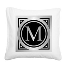 Deco Monogram M Square Canvas Pillow