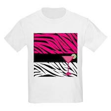 Pink Black Zebra Stripes Cocktail T-Shirt