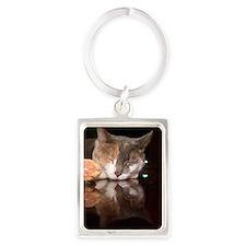 Feline reflections Portrait Keychain