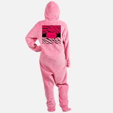 Pink Black Zebra Personalized Footed Pajamas
