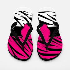 Pink Black Zebra Personalized Flip Flops