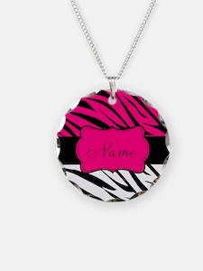 Pink Black Zebra Personalized Necklace