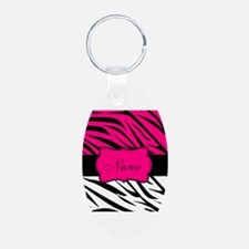 Pink Black Zebra Personalized Keychains