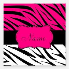 "Pink Black Zebra Personalized Square Car Magnet 3"""