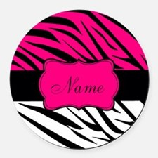 Pink Black Zebra Personalized Round Car Magnet