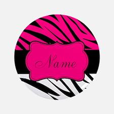 "Pink Black Zebra Personalized 3.5"" Button (100 pac"
