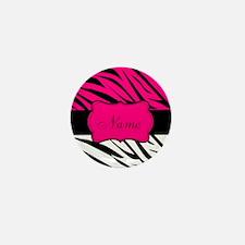 Pink Black Zebra Personalized Mini Button (100 pac