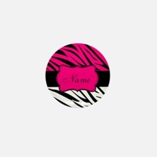 Pink Black Zebra Personalized Mini Button