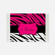 Pink Black Zebra Personalized Magnets