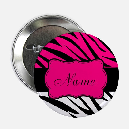 "Pink Black Zebra Personalized 2.25"" Button"
