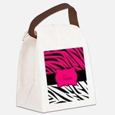 Pink Black Zebra Personalized Canvas Lunch Bag