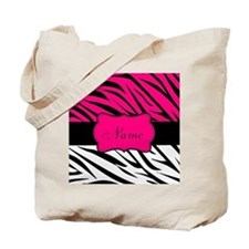 Pink Black Zebra Personalized Tote Bag