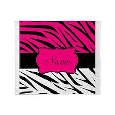 Pink Black Zebra Personalized Throw Blanket
