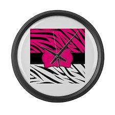 Pink Black Zebra Personalized Large Wall Clock
