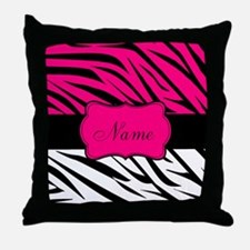 Pink Black Zebra Personalized Throw Pillow