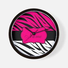 Pink Black Zebra Personalized Wall Clock