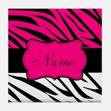 Pink Black Zebra Personalized Tile Coaster