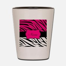 Pink Black Zebra Personalized Shot Glass