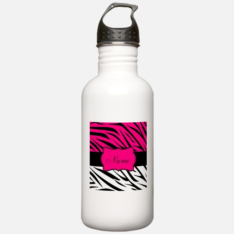 Pink Black Zebra Personalized Water Bottle