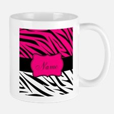 Pink Black Zebra Personalized Mugs