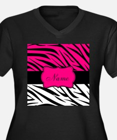 Pink Black Zebra Personalized Plus Size T-Shirt
