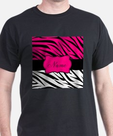 Pink Black Zebra Personalized T-Shirt
