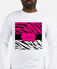 Pink Black Zebra Personalized Long Sleeve T-Shirt
