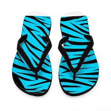 Teal and Black Zebra Stripes Flip Flops