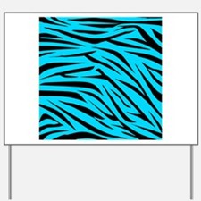 Teal and Black Zebra Stripes Yard Sign