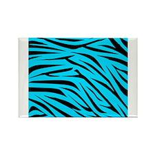 Teal and Black Zebra Stripes Magnets