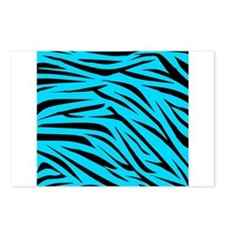 Teal and Black Zebra Stripes Postcards (Package of
