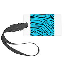 Teal and Black Zebra Stripes Luggage Tag
