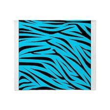 Teal and Black Zebra Stripes Throw Blanket