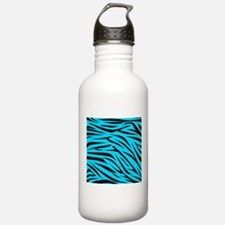 Teal and Black Zebra Stripes Water Bottle