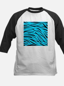 Teal and Black Zebra Stripes Baseball Jersey