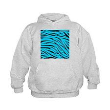 Teal and Black Zebra Stripes Hoodie