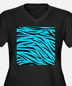 Teal and Black Zebra Stripes Plus Size T-Shirt